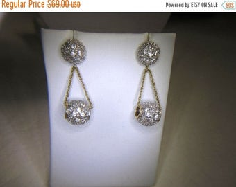 On Sale Sterling Silver Earrings/ Pave Crystal Double Ball Earrings/ Gold over Silver