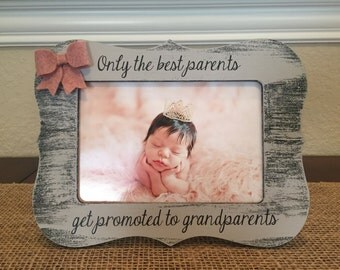 Grandparents Gift Best Parents Get Promoted To Grandparents Picture Frame Pregnancy Reveal To Parents Gift For New Grandparents