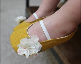 Mustard Yellow Linen Baby Girl Shoes - Ballet Flats - Toddler Girl Shoes - Flower Girl Shoes
