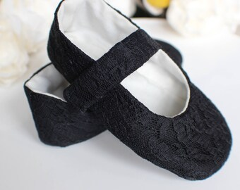 Lace Flower Girl Shoes, Baby Girl Shoes, Toddler Girl Shoes, Black Lace Mary Janes, Holiday Dress Shoes