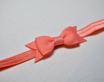 Coral Bow Headband / Small Baby Bow Headband / Newborn Headband / Baby Shower Gift / LIght Coral Baby Headband / Baby Girls Hair Accesories