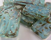 NEW COLOR  6 Beautiful Czech Glass Grooved Rectangle Beads in Transparent Aqua with Picasso