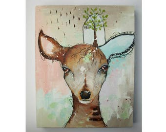 Original deer painting whimsical boho mixed media abstract art painting on wood panel 8x10 inches - Grow your roots