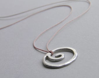 Sterling Silver Necklace Spiral Necklace Silk Minimalist Necklace Minimal Solid Silver Handcrafted Silk Thread Silver Swirl Floating