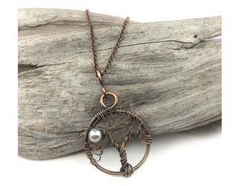 Copper tree of life with full moon - choose your crystal pearl - Earth Day - Arboreal gifts