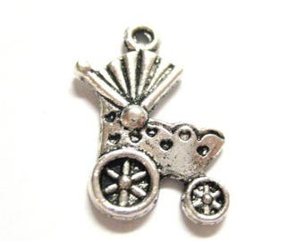75% OFF- 20pcs Baby Carriage Antique Silver Charms 011