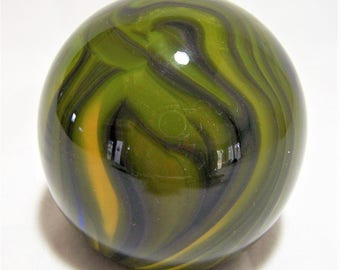 Blown Art Glass Paperweight, Olive Green Yellow Marbled Swirl, USA Artisan Made, Vintage Paper Weight,  317dgz