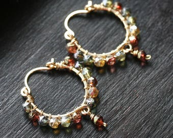 Autumn colors Boho hoops, Czech glass, multi color, beaded, green, gold, amber, blue, small hoops, 14k gold filled, Mimi Michele Jewelry