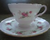 Beautiful Vintage Shelley Pink Roses Cup and Saucer
