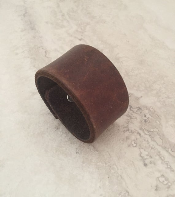 Handmade Small Brown Leather Bracelet, Women's Small Leather Cuff (size 5.75 inches)