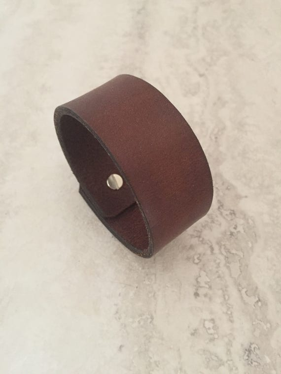 Handmade Brown Leather Bracelet, Men's Leather Cuff (size 7.25 inches)