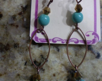 Copper and Turquoise long dangle fish hook earrings