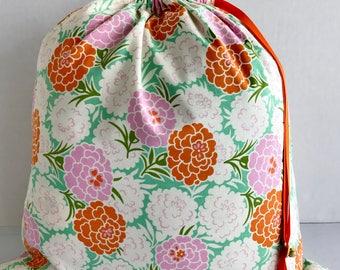 Large Drawstring Project Bag - Sweater Size - Blooming Mums - green, orange, pink
