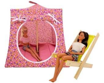 Toy Pop Up Tent, Sleeping Bags, pink, small flower print fabric
