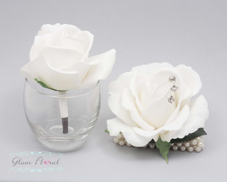 White Medium Rose Wrist Corsage Boutonniere