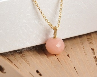 Natural pink opal pendant necklace, 14K gold filled wire wrapped bail, 14K gold filled metal, November birthstone necklace, gift for her