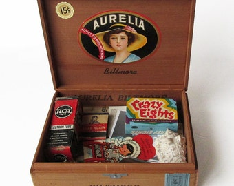 Vintage Cigar Box Full of 1950s Treasures - 1950s Memory Box