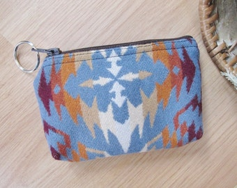 Medicine Bag, Keychain, Coin, Zipper Change Purse, Gift Card Holder Thunder Southwest Leather Tassel or Beads 6 x 4