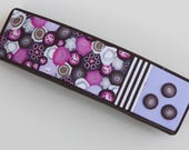 Fun French hair barrette in Brown, pink and lilac, polymer clay millefiori