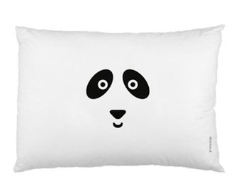 White Minimalist Pillowcase / Kids Pillow / Animal / Panda Bear Pillow / Modern Children Bedding / Monochrome Nursery / Scandinavian Style