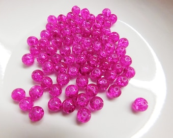 8mm Hot Pink Crackle Glass Beads, Glass Beads, 8mm Beads, Beads for jewelries, Crackle glass beads, Beads, Pink Green Beads