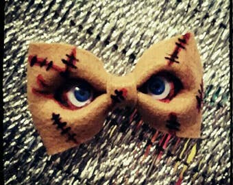 Chucky Hair Bow (Made To Order)-Chucky, Scary Movie Bows, Bows For Teens, Clip On Bow Tie, Child's Play Bow, Creepy Bow, Clip