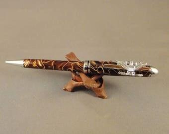 O-6 Colonel - Captain - Designer Pen - Gold with Gold Pearl Swirl acrylic