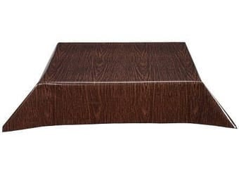 Rectangle Faux Bois Walnut with Simple Hem Oilcloth Tablecloth