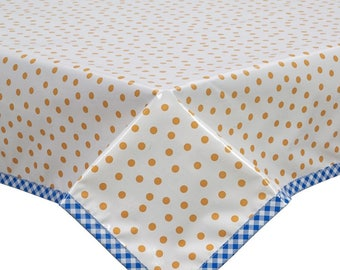 Rectangle Dot Orange Oilcloth Tablecloth with Blue Gingham Trim