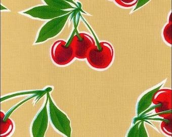 Round Cherry Tan Oilcloth Floor Mat Splat Mat or Tablecloth