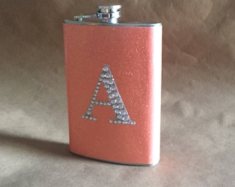 Bridesmaids Gift Coral Sparkly or ANY Color Sparkly with ANY Rhinestone Initial 8 ounce Stainless Steel Girly Gift Flask