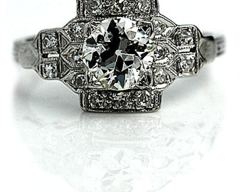 Art Deco Engagement Ring 1.40ctw Antique Diamond Ring Platinum Engagement Ring 1930s Ring Vintage Estate Ring Filigree Ring Size 5.75!