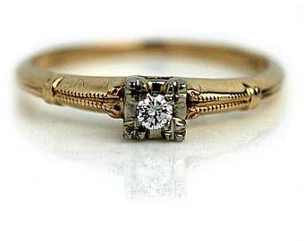 Antique Classic Diamond Ring .12ctw Vintage Engagement Ring 14K Bi Color 1940s Diamond Engagement Ring European Cut Solitaire Diamond Ring