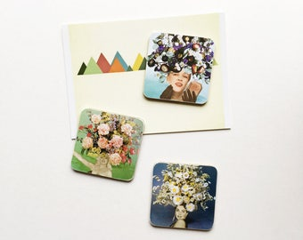 Square Wood Flower Fridge Magnets - Floral Fashions