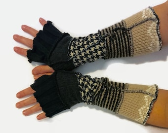 Upcycled Fingerless Gloves Black Tan Armwarmers Recycled Wrist warmers Stripe Gloves Knit Fingerless Mittens  fashion accessories Size S