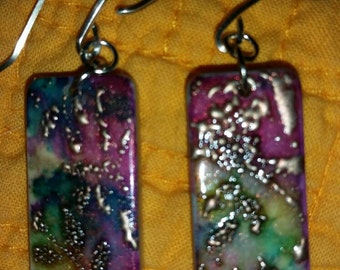 Found objects multicolor domino earrings with sterling hooks