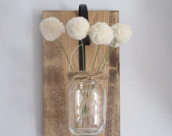 Hanging Wall Vase with Pom Pom Flowers