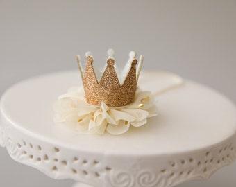 Baby Crown, Flower Crown, Newborn Crown, Birthday Crown, Ivory and Gold, Newborn Photo Prop, Baby Girl Prop, Baby Headband