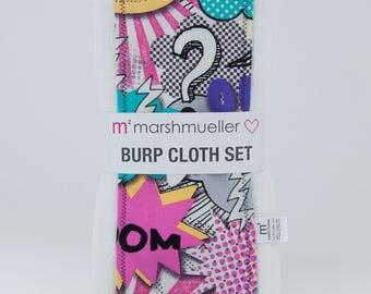 Burp Cloth Set in Comic Book Print, Baby Burp Rag Set, Baby Shower Gift, New Baby Gift Under 25, 2 Pack Burp Cloth Set, Geek Girl Baby