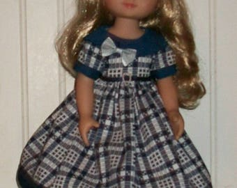 Navy Plaid dress fits 13 - 14.5 inch dolls-Les Cherie, H4H and Wellie Wishers