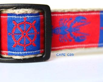 Navy & Red Stripe Dog Collar, Crab Dog Collar, Pet Accessories, Adjustable Dog Collar, Nautical Dog Collar, Helm Dog Collar