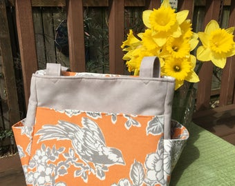 Katrina #1770, Orange Bird Knitting Bag, Orange and Gray Knitting Bag,Knitting Bag, Knitting Tote, Needle Point Bag, Project Totes, Bags,