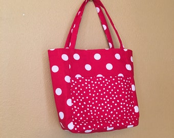 Lisa #47, Red and White Polka Dot Tote, Small Tote, Small Project Tote, Bag, Purse, Cosmetic Bag, Travel Bag, Travel Tote, Small Purse, Gift