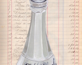 Giclée Print Milk Glass Witch Hazel Bottle in Gouache