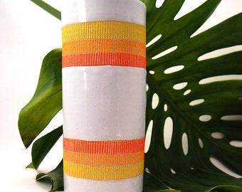 Ceramic Double Sunrise Tall Cylinder Vase