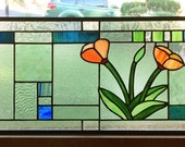 "California Poppies Over Geometric -- 3 Stained Glass panels 10"" x 22"""