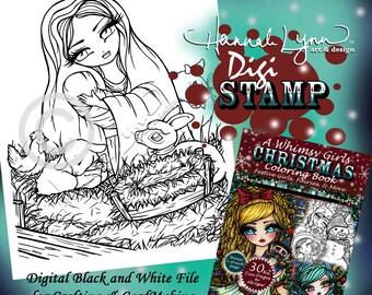 PRINTABLE Digi Stamp Virgin Mary Baby Jesus Whimsy Girls Christmas Coloring Page Fun Fantasy Art Hannah Lynn