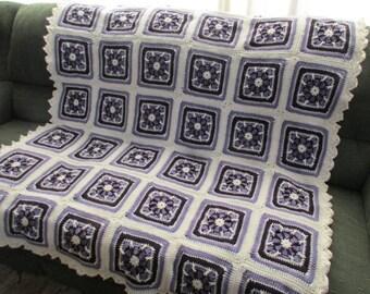 Handmade Violet Amethyst Crochet Pinwheel Granny Square Afghan 52 x 62