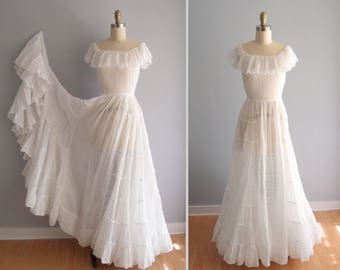 1930s dress / Wedding Gown white airy cotton voile ruffled tiered super full long swishy skirt ... on or off shoulder neckline XS 24 waist
