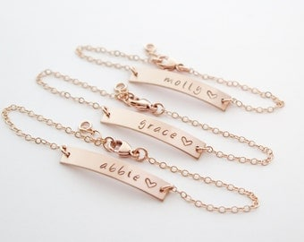 Rose Gold Fill Bar Bracelet Personalized Nameplate Customized with Heart Hand Stamped Sterling Silver and 14 Kt Gold Fill Available Also